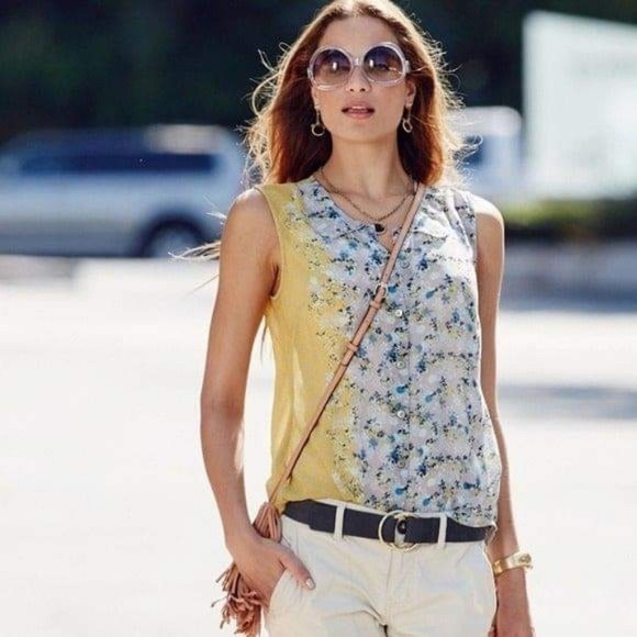 Cabi sheer floral spring button down top #5221 S